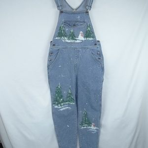Hand Painted Ugly Christmas Denim Jean Overalls